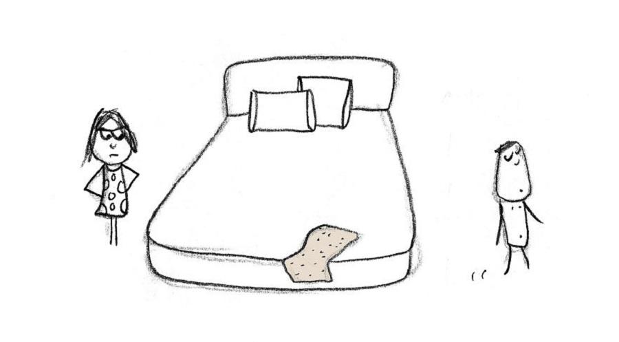 حوله خیس حمام خود را روی تختخواب پرت کنید.