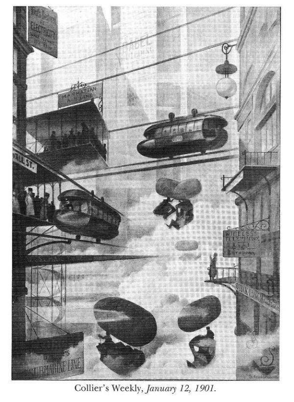 اگر این ایده به سرانجام میرسید، کارمندان میتوانستند بهجای تاکسی و اتوبوس با بالن به خانه بروند که اتفاقا طرح جالب و سرگرمکنندهای به نظر میرسد و افسوس که اجرائی نشد. (سال 1901)