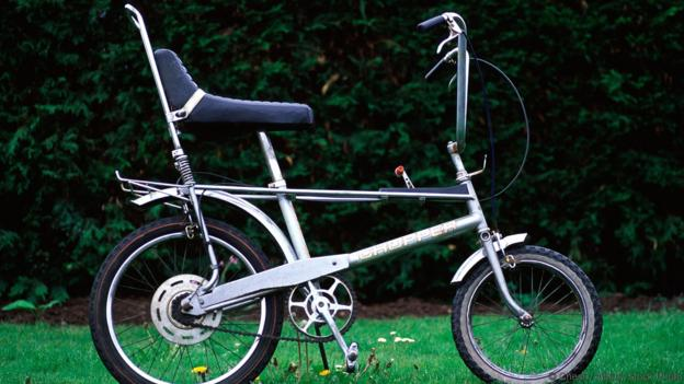Silver Raleigh Chopper bicycle