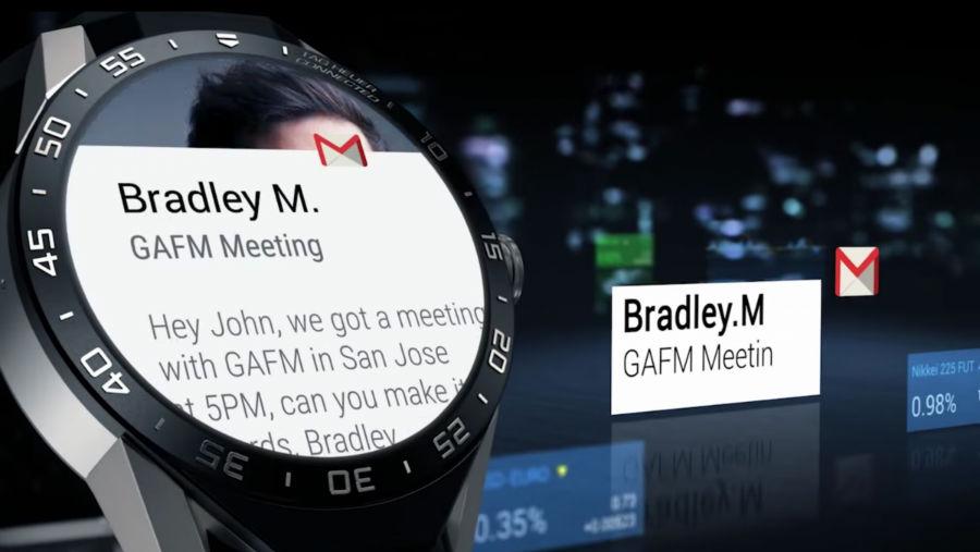 جیمیل در ساعت به این صورت نمایش داده میشود.