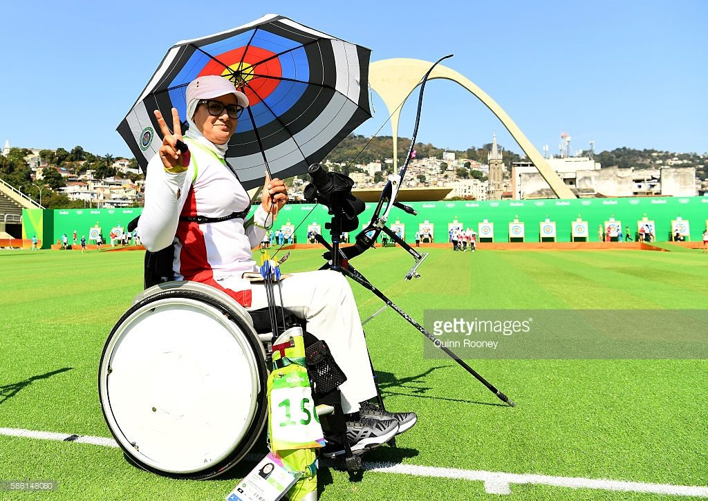 during the Men's Individual Ranking Round on Day 0 of the Rio 2016 Olympic Games at the Sambodromo Olympic Archery venue on August 5, 2016 in Rio de Janeiro, Brazil.