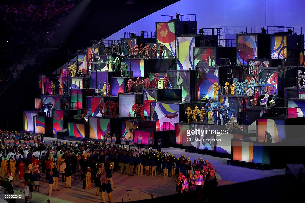 during the Opening Ceremony of the Rio 2016 Olympic Games at Maracana Stadium on August 5, 2016 in Rio de Janeiro, Brazil.