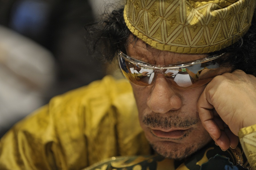 Muammar Qaddafi, the Libyan chief of state, attends the 12th African Union Summit in Addis Ababa, Ethiopia, Feb. 2, 2009. Qaddafi was elected chairman of the organization. (U.S. Navy photo by Mass Communication Specialist 2nd Class Jesse B. Awalt/Released)