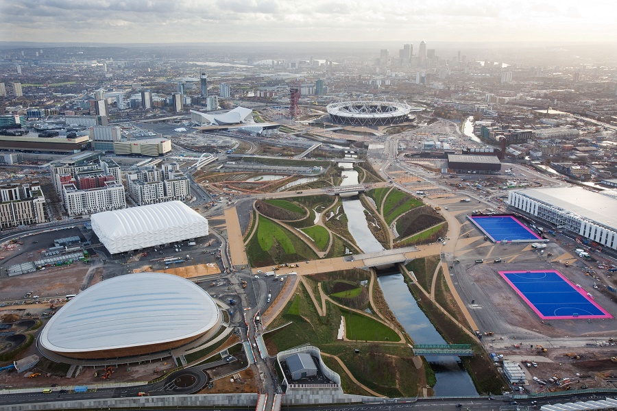 Olympic Park. Aerial view looking south through the parklands. Picture taken on 5th December 2011 by Anthony Charlton.