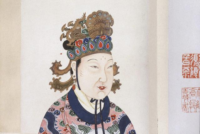 Empress Wu Zetian, first empress of China, 624-705 AD, imperial concubine until marriage to Emperor Gaozong, Tang dynasty, from Album of portraits of 86 Chinese emperors, with Chinese historical notes, 18th century.