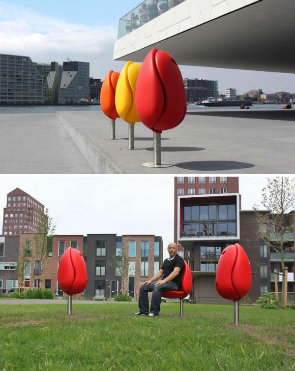 صندلی هایی به شکل گل لاله که توسط «Tulpi» طراحی شده اند