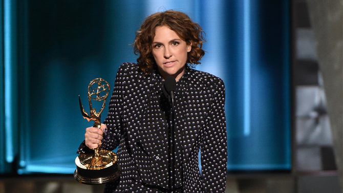 """67TH PRIMETIME EMMY® AWARDS: """"Transparent"""" director Jill Soloway receives the Outstanding Directing for a Comedy Series Award at the 67TH PRIMETIME EMMY® AWARDS at the Microsoft Theatre L.A. Live in Los Angeles, CA, on Sunday, Sept. 20 on FOX. CR: Michael Becker/FOX © 2015 FOX BROADCASTING"""