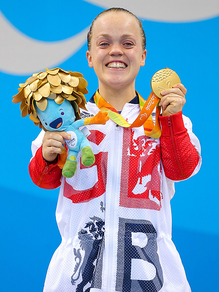 Mandatory Credit: Photo by Rogan Thomson/SWpix.com/REX/Shutterstock (5896189ai) Eleanor Simmonds of Great Britain wins Gold in the Women's 200m IM SM6 Final with a new World Record. 2016 Rio Paralympic Games - 12 Sep 2016