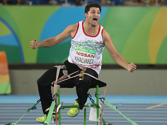 RIO DE JANEIRO, BRAZIL - SEPTEMBER 12: Mohammad Khalvandi of Iran reacts in the Men's Javelin Throw - F57 final on day 5 of the Rio 2016 Paralympic Games at the Olympic Stadium on September 12, 2016 in Rio de Janeiro, Brazil. (Photo by Friedemann Vogel/Getty Images)