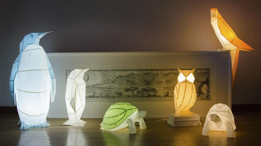 لامپ های کاغذی؛ الهام گرفته از اشکال حیوانات