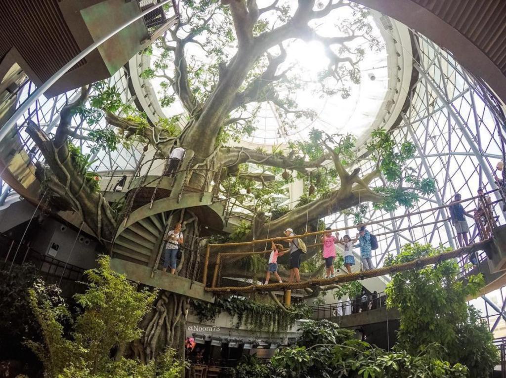 بزرگترین درخت مصنوعی جهان در دل جنگلی بارانی در دبی