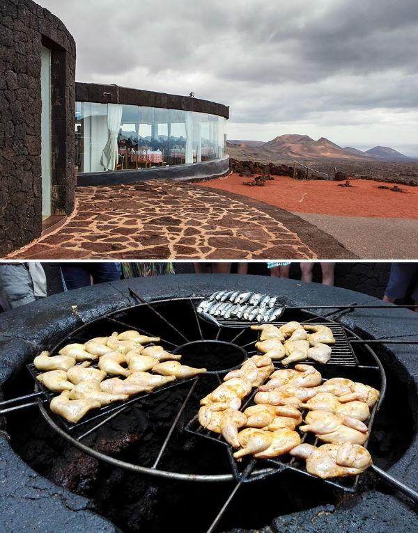 غذا خوردن در رستوران آتشفشانی «El Diablo» واقع در جزیره «لانزاروته» کشور اسپانیا نیز تجربه ای حیرت انگیز به شمار می رود