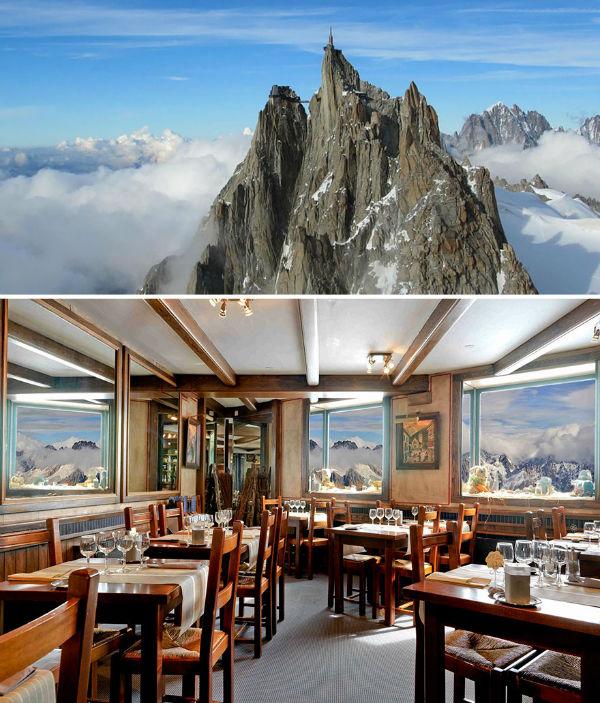 خوردن شام در ارتفاع 3842 متری از سطح زمین نیز می تواند تجربه جالبی باشد. رستوران منطقه «چامونیکس» فرانسه این شرایط را برای شما فراهم می سازد