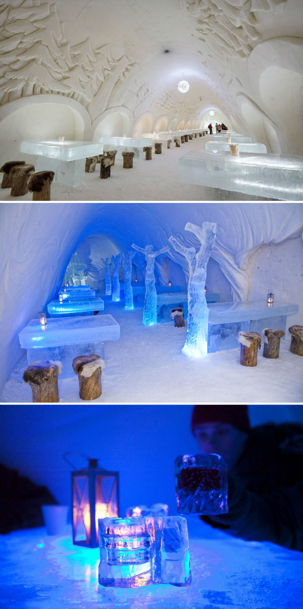 صرف غذا در محیط پر از برف و یخ «قصر کِمی» فنلاند نیز لذت خاص خودش را دارد