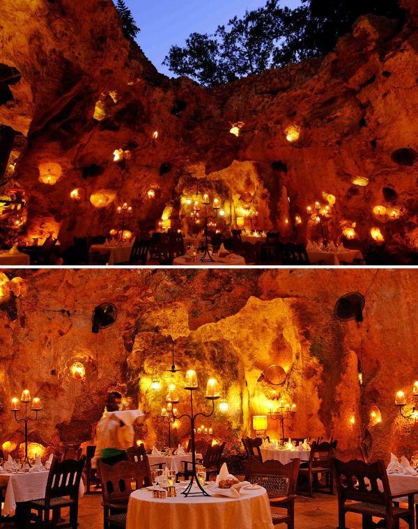 رستوران «Ali Barbour» کشور کنیا غذاهایش را در غاری که توسط شمع های زیاد نورپردازی شده سرو می کند