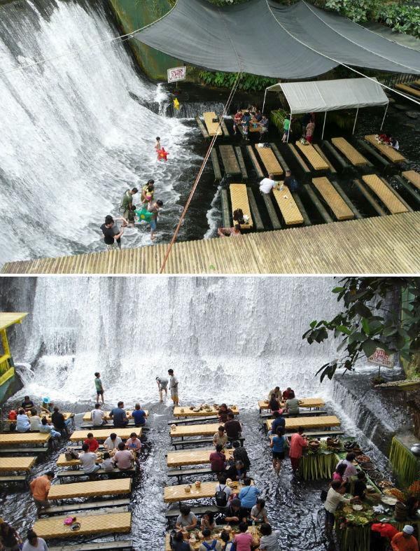 با مراجعه به رستوران «لاباسین» کشور فیلیپین، می توانید غذای خود را در میان آبشار نوش جان کنید