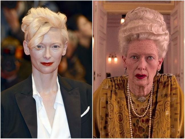«تیلدا سوئینتون» به عنوان «مادام دی» پولدار و عجیب در فیلم سینمائی «هتل بزرگ بوداپست»، 2014