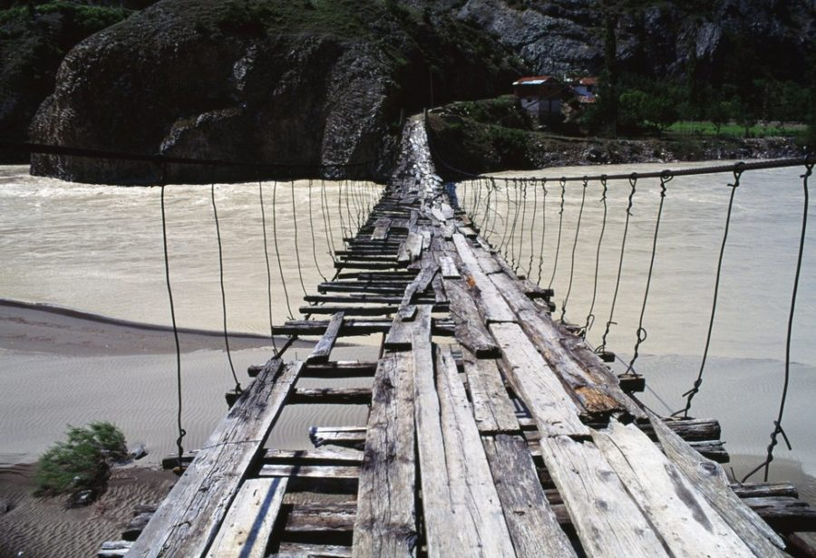 Wooden bridge over Coruh River, north-eastern Turkey.