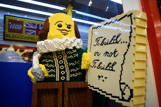 LONDON, ENGLAND - NOVEMBER 16: A model of playwright William Shakespeare is seen inside a large-scale model of a London underground train carriage, during an opening party event at the new flagship Lego store on November 16, 2016 in London, England. The new landmark store is be the biggest Lego Brand Retail Store in the world, the 37th LEGO store in Europe and covers 914 sq metre total area, over two floors. (Photo by Leon Neal/Getty Images)