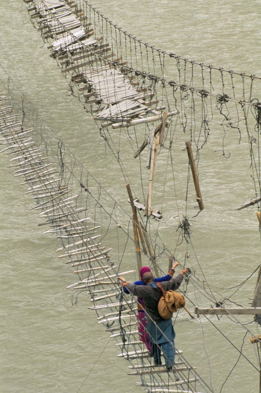 Swinging bridges, near Passu, Bojal, Pakistan, Asia
