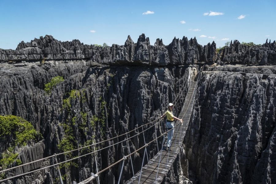 Woman on suspension bridge in the National Park Tsingy du Bemaraha, UNESCO World Heritage Site, Mahajanga, Madagascar, Africa