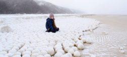 پدیده ای عجیب در روسیه؛ ظاهر شدن گلوله های برفی طبیعی در سواحل سیبری