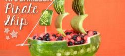 آموزش تصویری تزئین روی هندوانه به شکل های لاک پشت و کشتی دزدان دریائی