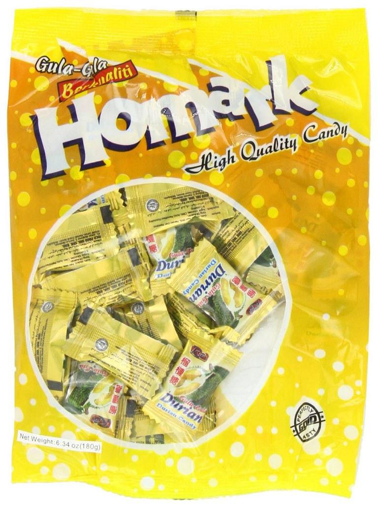 شیرینی Durian این شیرینی بو و طعمی تند دارد به طوری که در برخی از مکان های عمومی مصرف آن ممنوع است. این شکلات ها در جنوب شرقی آسیا محبوبیت زیادی دارند.