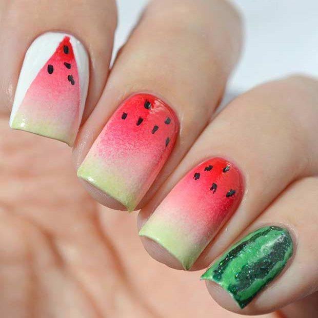 ایده هایی برای طراحی ناخن به شکل هندوانه مخصوص شب یلدا