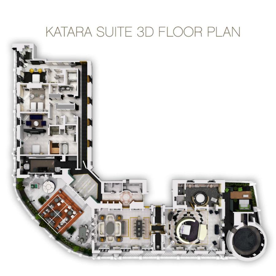 این سوئیت حدود 1030 متر مربع مساحت دارد و بزرگ ترین سوئیت یک هتل در ایتالیا محسوب می شود.