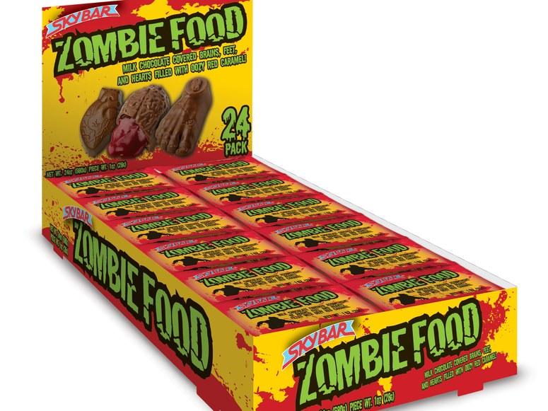 غذای زامبی این خوراکیِ فصلی، توسط کمپانی Necco فقط برای هالووین تولید می شود و درون شیرینی های که به شکل اعضای بریده شده بدن هستند، مملو از کارامل قرمز به شکل خون است.