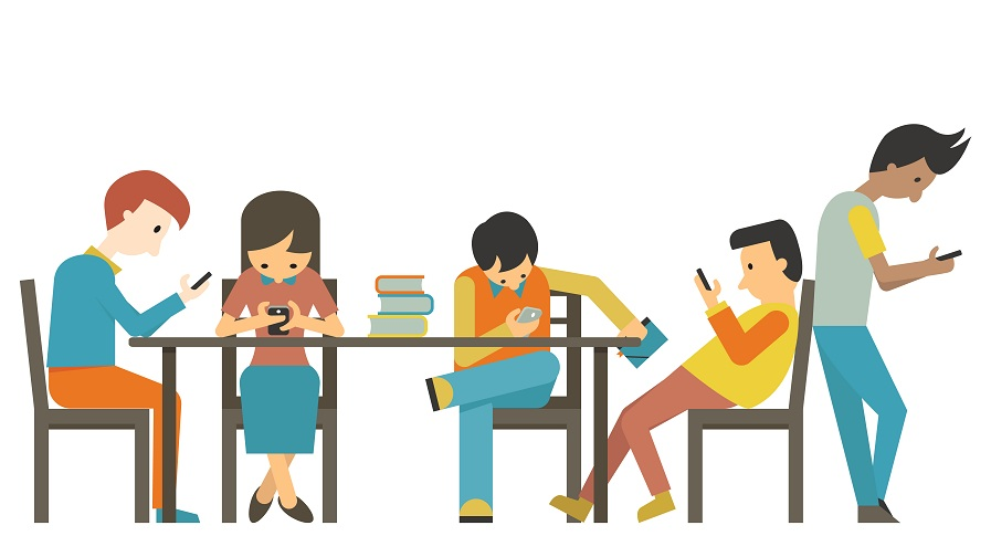 Group of student at teen age, using smartphone in concept of smart phone addiction. Flat design.