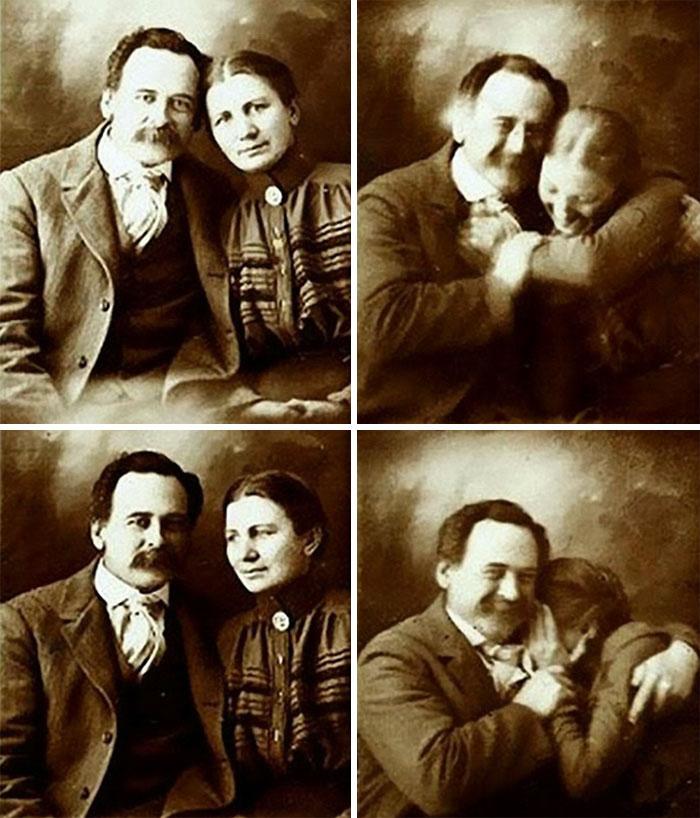 یک زوج مربوط به دوران ویکتوریا سعی می کنند هنگام گرفتن عکس دو نفره جلوی خنده خود را بگیرند - دهه 1890 میلادی