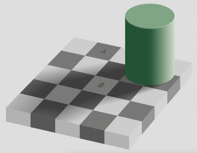 به صفحه شطرنج بالا با دقت نگاه کنید. مربع های A و B را چه رنگی می بینید؟ A سیاه به نظر رسیده و B سفید است؟ اگر این طور فکر می کنید توصیه می کنیم تصویر زیر را مشاهده کنید.