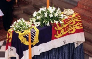 The coffin of Diana, Princess of Wales is covered by the Royal Standard as it stands on the catafalque in Westminster Abbey today (Saturday).