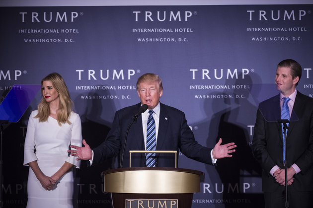 WASHINGTON, DC - OCTOBER 26: Republican presidential candidate Donald Trump, accompanied by his daughter, Ivanka Trump, left, and Eric Trump, right, speaks during the grand opening of Trump International Hotel in Washington, DC on Wednesday October 26, 2016. (Photo by Jabin Botsford/The Washington Post via Getty Images)