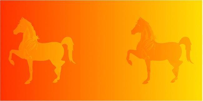 اسب های هر دو طرف تصویر یک رنگ هستند.