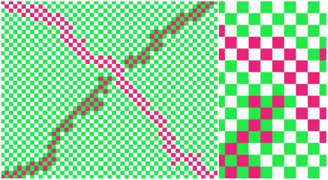 چه تعداد رنگ در تصویر بالا هست؟ با نادیده گرفتن سفید، چند رنگ دیگر می بینید؟ 3؟ 4؟ واقعیت این است که تصویر بالا فقط دو رنگ صورتی و سبز دارد.