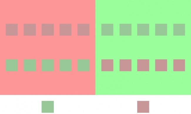 مربع های تصویر بالا چه رنگی هستند؟ فقط صورتی و سبز.