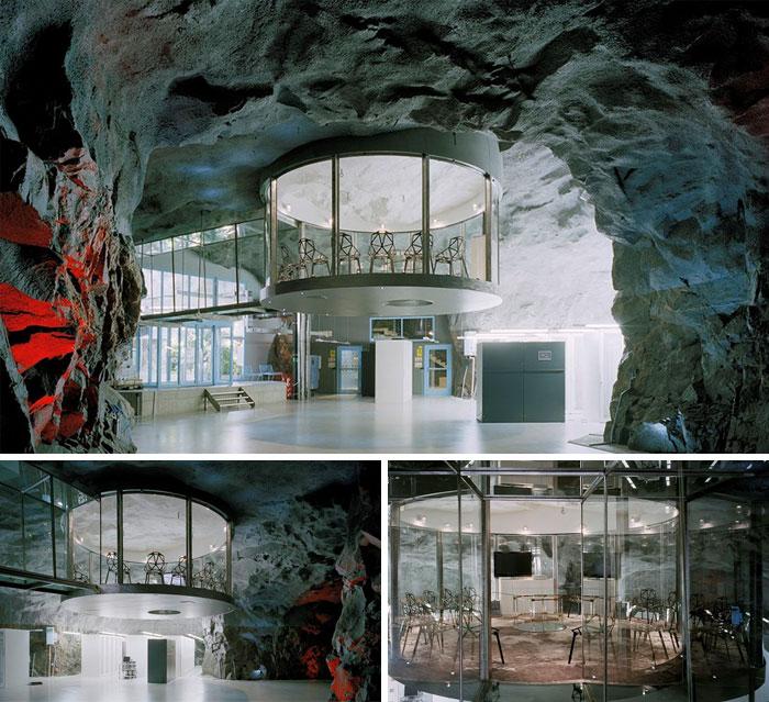 ساختمان اداری Bahnhof که پناهگاه سابق برای جنگ های هسته ای محسوب می شده - استکهلم، سوئد