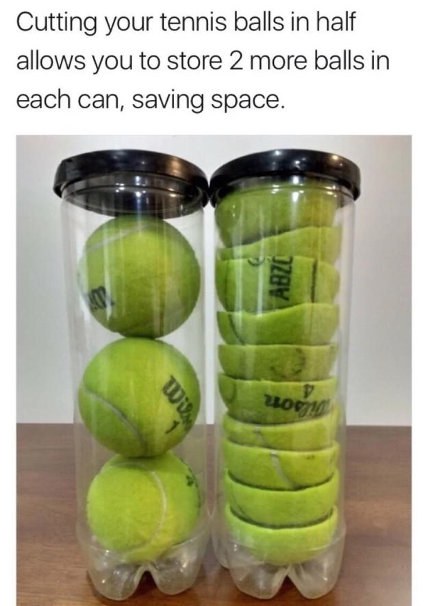 با دو نیم کردن توپ های تنیس می توانید دو تا توپ بیشتر رون بسته آن نگهداری کنید.