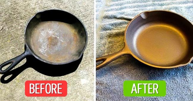 برای نونوار کردن تابه های چدنی به مایع ضدعفونی کننده، دستکش، کیسه زباله و سرکه سفید نیاز دارید. یک لایه غلیظ از محلول ضدعفونی کننده را درون تابه بریزید. برای اینکه خشک نشود، یک کیسه زباله روی آن بکشید و در کیسه را گره بزنید. تابه را به مدت 1 تا 2 روز در همین حالت کنار بگذارید. سپس مایع ضدعفونی کننده را آبکشی کنید. دوباره یک لایه دیگر از همان محلول را درون تابه ریخته، روی آن کیسه بکشیدو یک روز دیگر کنار بگذارید. پس از یک روز، تابه را با آب داغ بشویید. محلولی از سرکه و آب (1 واحد + 1 واحد) تهیه کرده و داخل تابه بریزید. با استفاده از دستمال آن را بشویید. پس از خشک شدن، تابه خالی را به مدت 1 ساعت درون فر را دمای 250 درجه سانتی گراد بگذارید. یک لایه روغن زیتون درون آن بریزید. داغ بودن بدنه تابه باعث جذب روغن می شود. سپس با استفاده از دستمال حوله ای، روغن اضافه آن را پاک کنید. تابه را به مدت 15 دقیقه سر و ته روی میز بگذارید و دوباره به مدت 15 دقیقه در فر قرار دهید. این مراحل را دو بار دیگر تکرار کنید تا در انتهای کار، یک تابه چدنی نونوار شده داشته باشید.