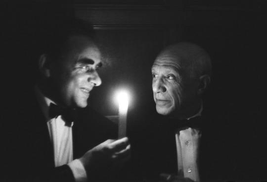 تصویری از آنری ژرژ کلوزو و پابلو پیکاسو که توسط جک گاروفالو گرفته شده است