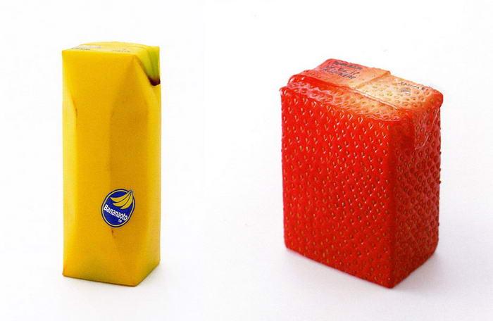 بسته بندی خلاقانه پاکت آب میوه های موز و توت فرنگی
