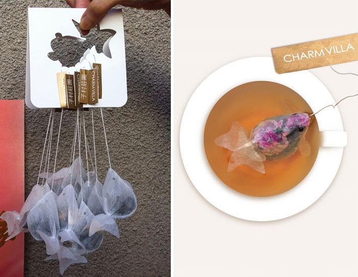 بسته بندی خلاقانه چای کیسه ای به شکل ماهی کوی