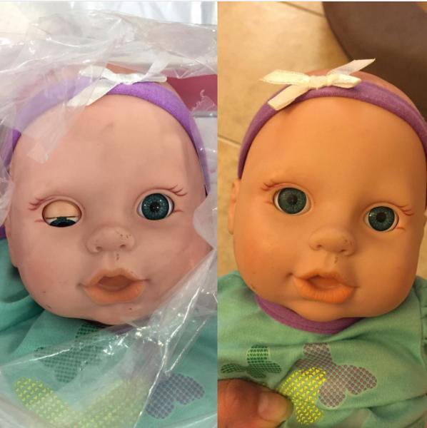 94- پشت پلک عروسک هایی که چشم های آن ها باز و بسته می شوند، چسب بریزید تا در جای خود ثابت شوند و چشم ها همیشه باز بمانند.