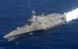 140723-N-OL640-024 PACIFIC OCEAN (July 23, 2014) The littoral combat ship USS Independence (LCS 2) transits during Rim of the Pacific (RIMPAC) 2014. Twenty-two nations, 49 ships, six submarines, more than 200 aircraft and 25,000 personnel are participating in RIMPAC from June 26 to Aug. 1 in and around the Hawaiian Islands and Southern California. The world's largest international maritime exercise, RIMPAC provides a unique training opportunity that helps participants foster and sustain the cooperative relationships that are critical to ensuring the safety of sea lanes and security on the world's oceans. RIMPAC 2014 is the 24th exercise in the series that began in 1971. (U.S. Navy photo by Mass Communication Specialist 1st Class Carlos Gomez/Released)