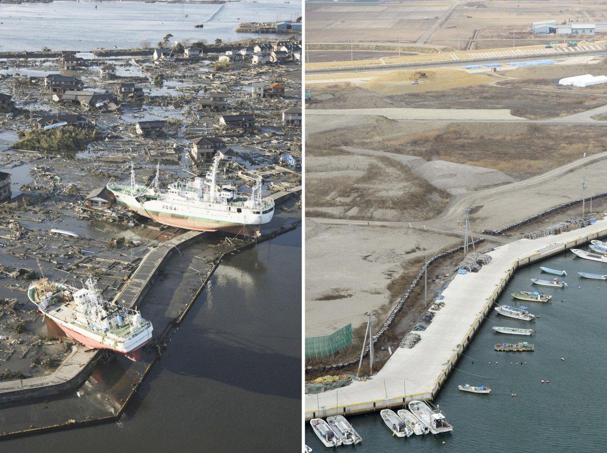 سونامی 2011 حتی دیوارهایی که در ساحل به منظور پیشگیری از سونامی کشیده شده بود را نیز در هم شکسته و تخرب کرده بودند.