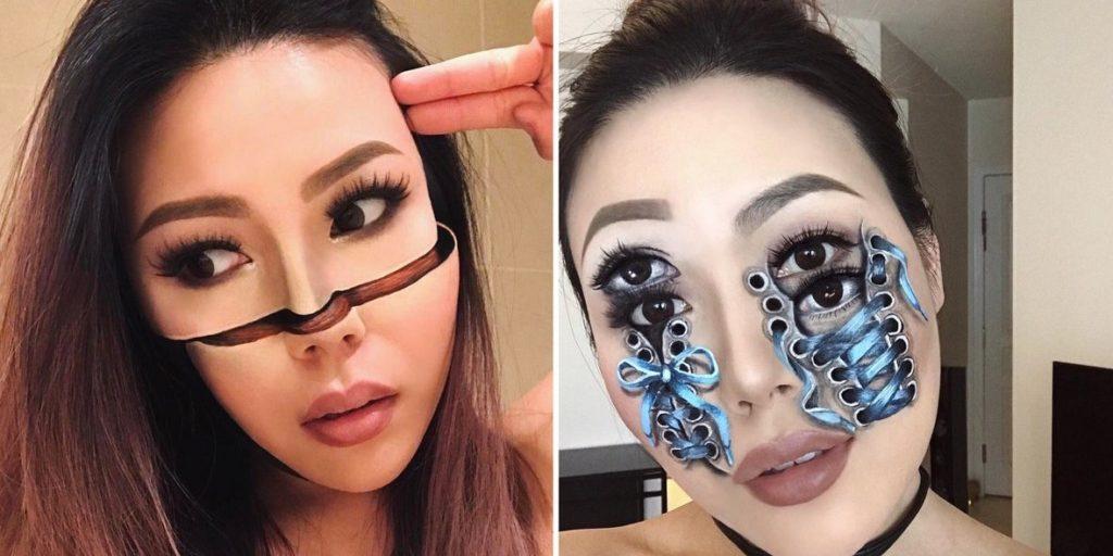 آرایشگری که با مهارت زیاد روی صورت خود عجیب ترین توهمات بصری را خلق می کند