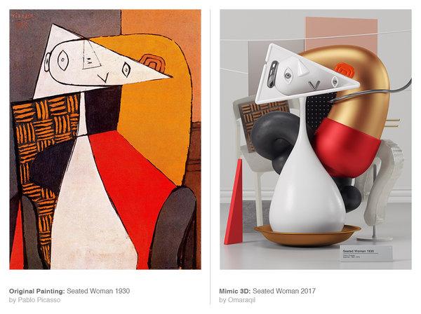 بازسازی بسیار خلاقانه آثار پابلو پیکاسو به صورت سه بعدی